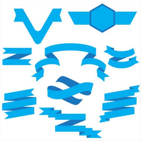 Blue Ribbon Set in isoliert für Feier und Gewinner Award Banner weißer Hintergrund, Vector Illustration kann für Jubiläum, Geburtstag, Party, Event, Urlaub und andere verwendet werden.