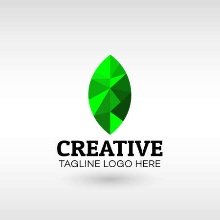 Polygon Abstract green leaf eco organic Logo design Modern Style vector template. for Business