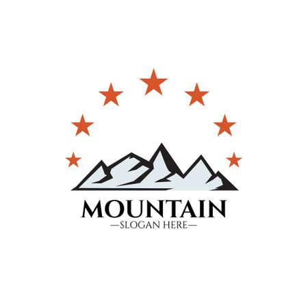 Mountains logo illustration, outdoor adventure. Illustration Peak, hill or expedition logo. Simple and minimalist style
