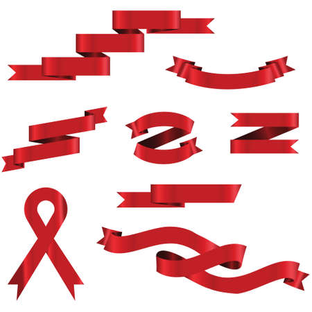 RED Ribbon Set In Isolated For Celebration And Winner Award Banner White Background, Vector Illustration can use for anniversary, birthday, party, event, holiday And others.