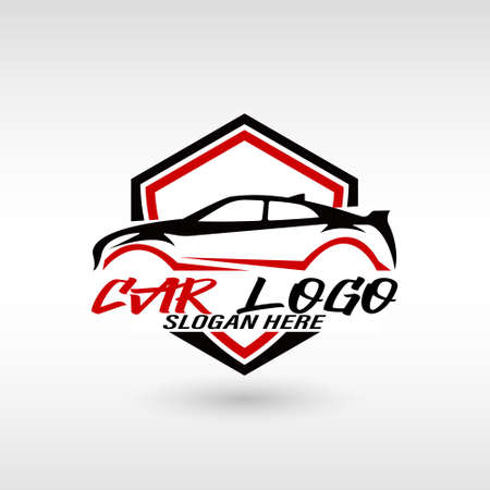 Automotive car logo design with concept sports vehicle icon silhouette on black background. Vector illustration