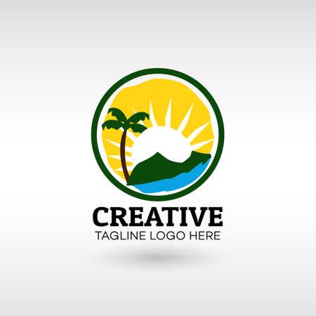 Abstract green landscape eco organic Logo design Modern Style vector template. for Business Illusztráció