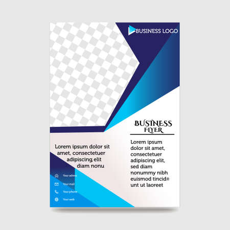 Blue Flyer Template Layout Design. Corporate Business Flyer, Brochure, Annual Report, Catalog, Magazine Mock up. Creative Modern Bright Flyer Concept with Square Shapes Banque d'images - 138242134