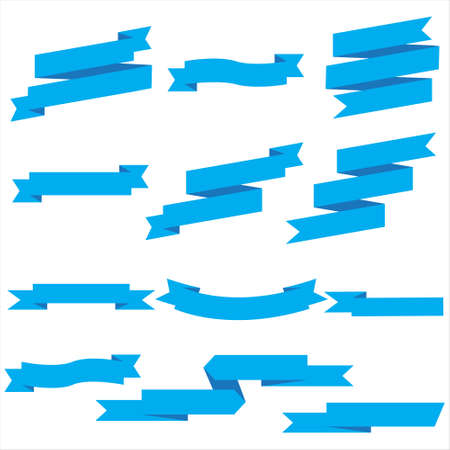Blue Ribbon Set In Isolated For Celebration And Winner Award Banner White Background, Vector Illustration can use for anniversary, birthday, party, event, holiday And others.