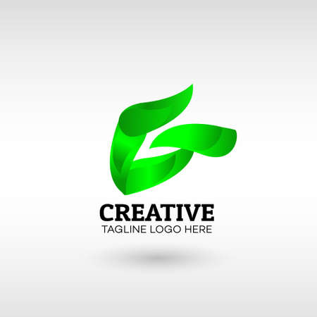 Abstract green leaf eco organic Logo design Modern Style vector template. for Business
