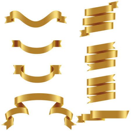 GOLD Ribbon Set In Isolated For Celebration And Winner Award Banner White Background, Vector Illustration can use for anniversary, birthday, party, event, holiday And others. Illusztráció