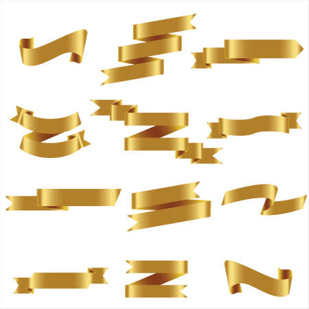 Gold Ribbon Set In Isolated For Celebration And Winner Award Banner White Background, Vector Illustration can use for anniversary, birthday, party, event, holiday, Ied mubarak And religious day