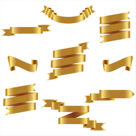 GOLD Ribbon Set In Isolated For Celebration And Winner Award Banner White Background, Vector Illustration can use for anniversary, birthday, party, event, holiday And others.