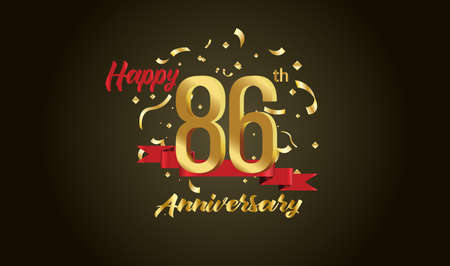 Anniversary celebration background. with the 86th number in gold and with the words golden anniversary celebration.