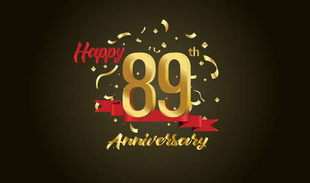 Anniversary celebration background. with the 89th number in gold and with the words golden anniversary celebration. Illustration
