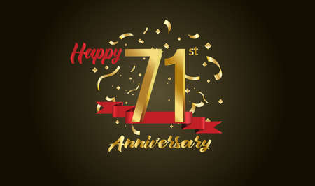 Anniversary celebration background. with the 71st number in gold and with the words golden anniversary celebration.