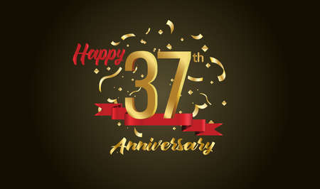 Anniversary celebration background. with the 37th number in gold and with the words golden anniversary celebration. Illustration