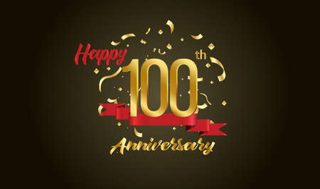 Anniversary celebration background. with the 100th number in gold and with the words golden anniversary celebration.