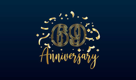 Anniversary celebration background. with the 69th number in gold and with the words golden anniversary celebration.