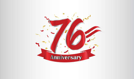 Anniversary celebration background. with the 76th number in gold and with the words golden anniversary celebration. Ilustração