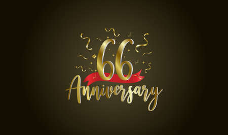 Anniversary celebration background. with the 66th number in gold and with the words golden anniversary celebration. Ilustração