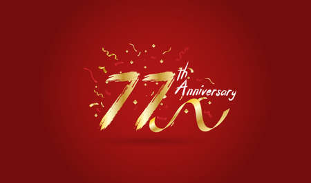 Anniversary celebration background. with the 77th number in gold and with the words golden anniversary celebration.