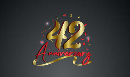 Anniversary celebration background. with the 42nd number in gold and with the words golden anniversary celebration.