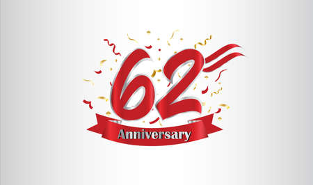 Anniversary celebration background. with the 62nd number in gold and with the words golden anniversary celebration. Illustration