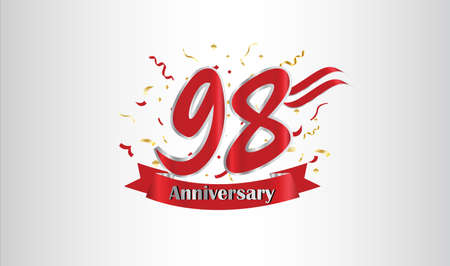 Anniversary celebration background. with the 98th number in gold and with the words golden anniversary celebration. Illustration