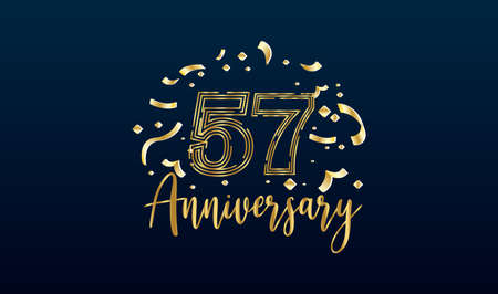 Anniversary celebration background. with the 57th number in gold and with the words golden anniversary celebration. Illustration