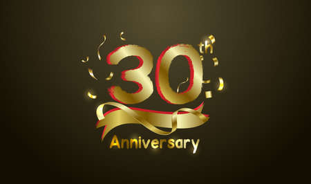 Anniversary celebration background. with the 30th number in gold and with the words golden anniversary celebration.
