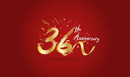 Anniversary celebration background. with the 36th number in gold and with the words golden anniversary celebration.