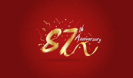 Anniversary celebration background. with the 87th number in gold and with the words golden anniversary celebration. Illustration
