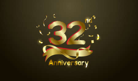 Anniversary celebration background. with the 32nd number in gold and with the words golden anniversary celebration.