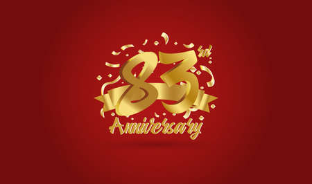 Anniversary celebration background. with the 83rd number in gold and with the words golden anniversary celebration. Ilustração