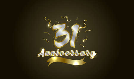 Anniversary celebration background. with the 31st number in gold and with the words golden anniversary celebration.
