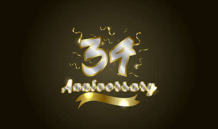 Anniversary celebration background. with the 34th number in gold and with the words golden anniversary celebration. Ilustração