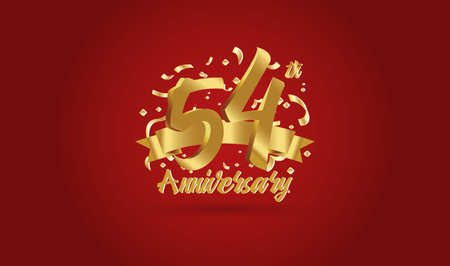 Anniversary celebration background. with the 54th number in gold and with the words golden anniversary celebration. Ilustração