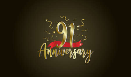 Anniversary celebration background. with the 91st number in gold and with the words golden anniversary celebration. Illustration