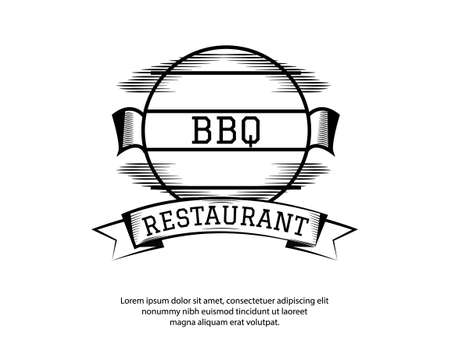 BBQ, barbecue, grill logo or icons. Labels for the menu of restaurant or cafe. Vector illustration Ilustracja
