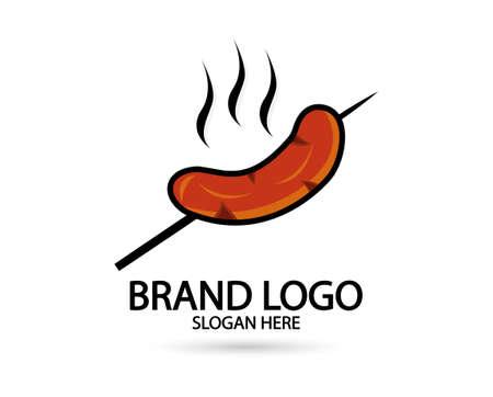 Sausage restaurant logo vector icon illustration. For your brand and business Illusztráció