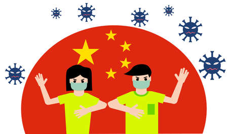 A man and woman wear masks, fight the corona virus and they are not afraid, with china's flag background. Vector Illustration.