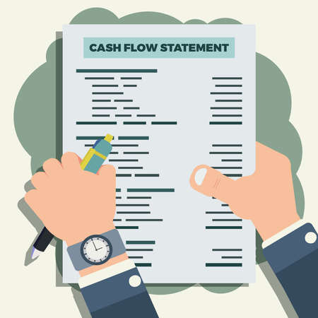 Hand hold pen and cash flow statement sheet vector illustration