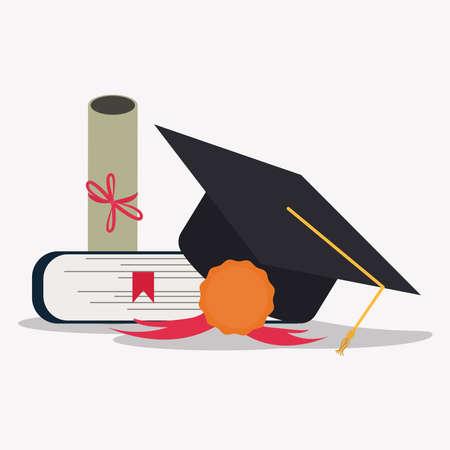 book, medal, diploma  and graduation cap vector illustration. Graduation concept