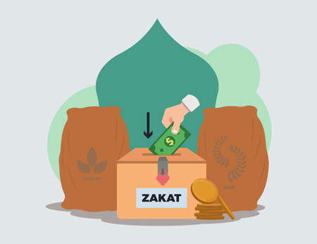 zakat payment concept vector illustration
