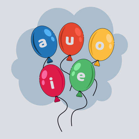 vowel balloons vector illustration. Education concept