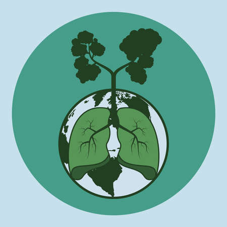 Lung, globe and silhoutte of tree in dark green. Tree the lung of world concept Illustration