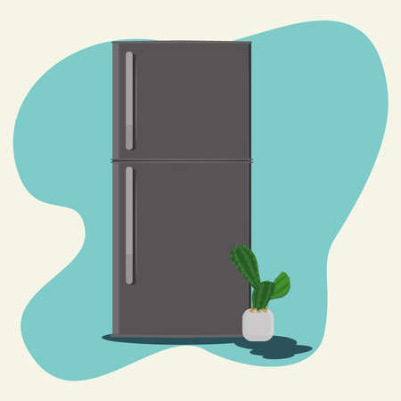Refrigerator and mini cactus vector illustration