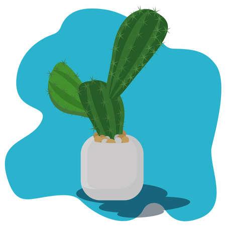 Cactus in a pot vector illustration. Decorative plants concept