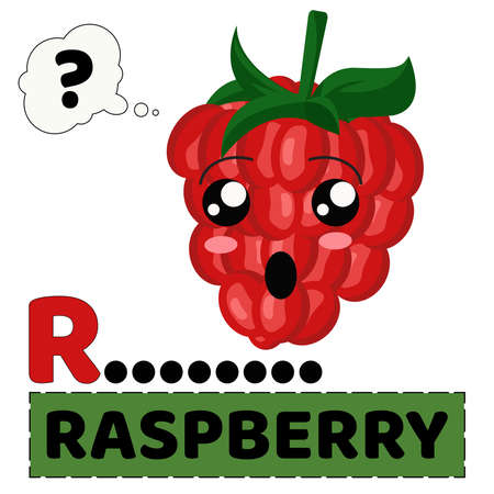 vector illustration of raspberry fruit with emoji characters. alphabet R for Raspberry. the concept of educating children to recognize the names  of fruit