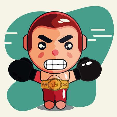 A boxer uses a boxing belt cute cartoon vector illustration