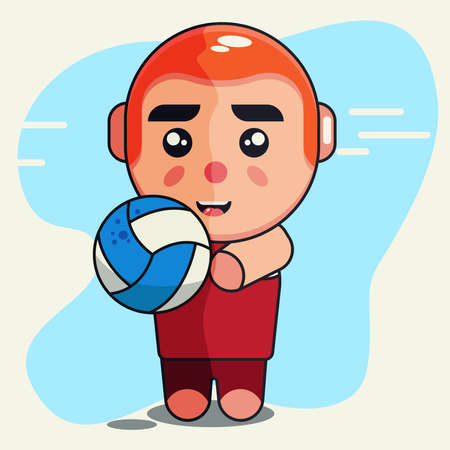 Boy hold a ball of volley ball cute design vector illustration