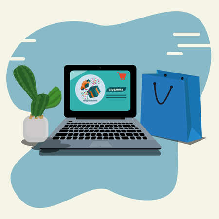 Opened Gift Box on screen of laptop, giveaway online shop concept vector illustration Ilustracje wektorowe