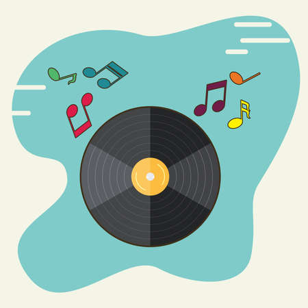 Vinyl record and musical notes icon vector illustration