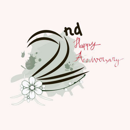 2nd and flower with watercolor brush. Happy second anniversary concept. Suitable for greeting cards, wedding cards
